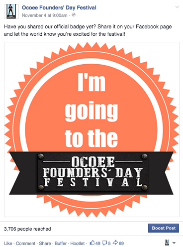 I'm going to Ocoee Founders Day Social Badge