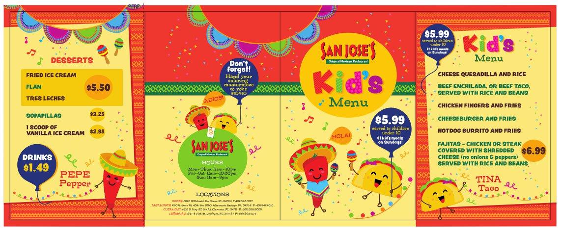San Jose's Kids Menu Orlando Florida Front