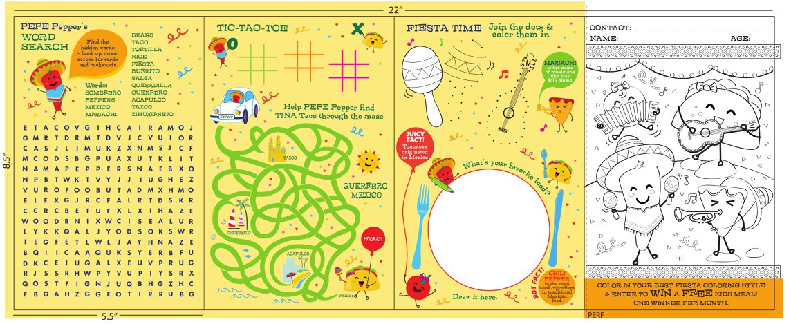 San Jose's Kids Menu Orlando Florida Back